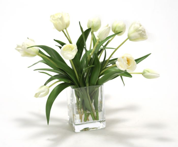 Waterlook® Elegant Ivory Tulips in Glass Vase (16491)