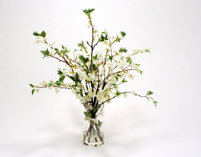 Waterlook® White Cherry Blossoms in Clear Glass Cylinder (17019-WO)