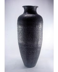 Meridian Black Antique Pewter Hand Hammered Vase with Aluminum Base