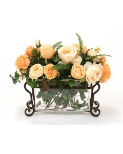 Waterlook® Peach and Champagne Roses in Rectangle Glass Planter with Optional Metal Stand