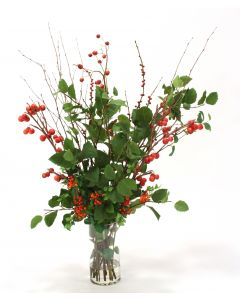 Waterlook® Red Berries and Cherries with Greenery in Cylinder
