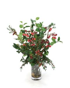 Waterlook® Burgundy Berries and Cherries with Greenery in Cylinder