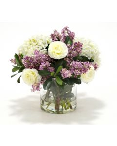 Waterlook® Cream White Hydrangeas, Lilacs w/ Greenery in Cylinder