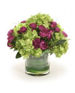 Waterlook® Purple Ranunculus, Green Hydrangeas in Glass Cylinder