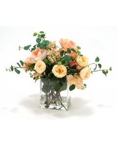 Waterlook® Traditional Peach and Champagne Garden Mix in Rectangular Glass Vase