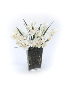 Waterlook® White Orchids in Glass Spotted Leopard Vase