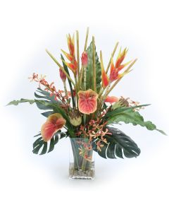 Waterlook® Heliconia, Antherium Tropical Mix in Rectangular Glass Vase