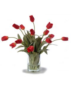 Waterlook® Red Tulips in Glass Cylinder
