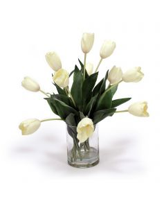 Cream White Tulips in Vase