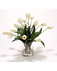 Waterlook® Ivory Tulips in Glass Cylinder