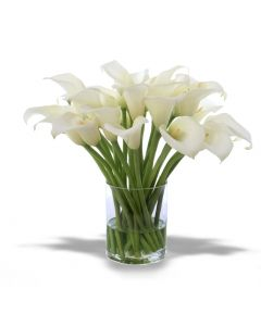 Waterlook® Cream-White Calla Lilies in Clear Glass Cylinder