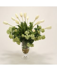 Waterlook&Reg; Cream White Tulips, Snowballs in Flared Glass Urn with Ball Stem