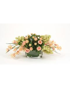 Waterlook®Anti Pink Roses with Green Rose Hydrangeas in Oval Bowl