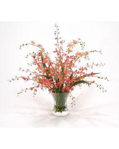 Waterlook® Coral Vanda Orchids in Hourglass Vase