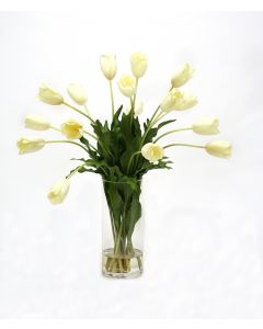 Waterlook® Cream White Tulips in Cylinder Vase
