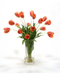 Waterlook® Dark Orange Red Tulips in Cylinder Vase