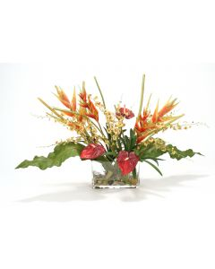Waterlook® Heliconia, Orchid Tropical Mix in Glass Cylinder