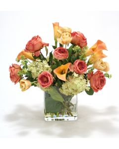 Waterlook® Summer Mix of Roses, Tulips, Calla Lilies, Hydrangeas in Glass
