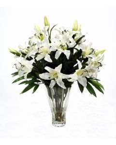 Waterlook® Cream White Casablanca Lilies in Fluted Glass Vase
