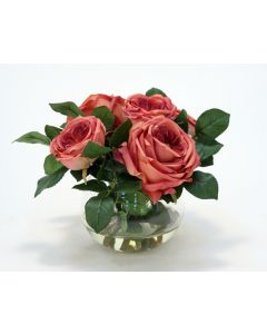 Waterlook® Dark Rose Pink Roses and Rose Buds in Small Round Glass Bowl