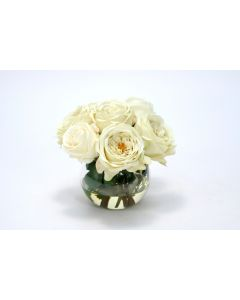 Waterlook® Cream White Roses in Rose Bowl