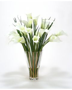 Waterlook® White Calla Lilies in Tall Fluted Vase