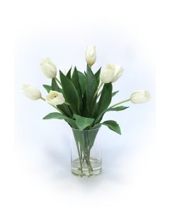 Waterlook&Reg; Ivory Tulips in Glass Cylinder Vase