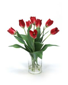 Waterlook&Reg; Red Tulips in Glass Cylinder Vase