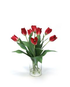 Waterlook® Red Tulips in Glass Cylinder Vase