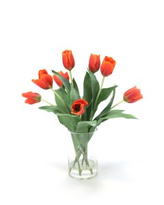 Waterlook&Reg; Red-Orange Tulips in Glass Cylinder