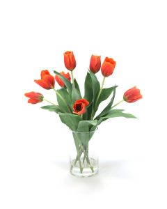 Waterlook® Red-Orange Tulips in Glass Cylinder