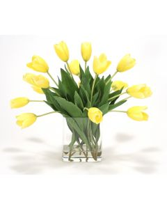 Waterlook® Yellow Tulips in Rectangular Glass Vase