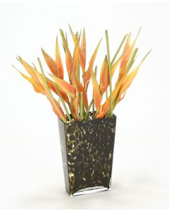 Waterlook® Orange Heliconias in Leopard-Spotted Glass Vase