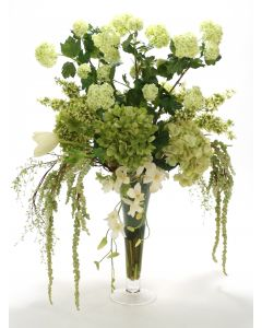 Cream Green Mix in Glass Trumpet Vase