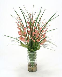 Waterlook® Pink Foxglove and Grass in Glass Vase