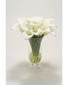 Waterlook® White Calla Lilies in Clear Glass Pedestal Vase