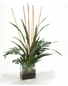 Waterlook® Rubber Leaves with Blades and Rattan in Glass Vase