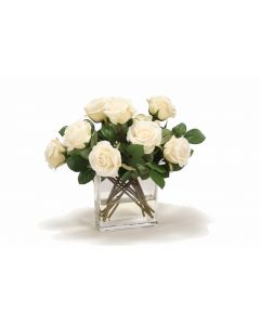 Ivory Rose Buds in Rectangular Glass Vase