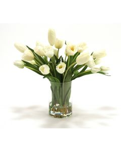 Waterlook® Cream White Tulips in Clear Glass Cylinder Vase