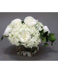 Waterlook® Cream White Hydrangeas and Roses in Square Glass