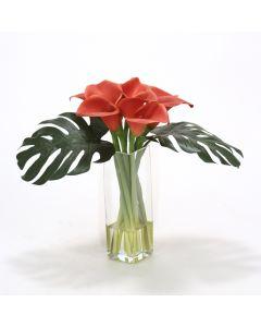 Waterlook® Rust Calla Lilies, Split Philo Leaves in Square Glass Vase