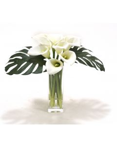 Waterlook® White Calla Lilies and Split Philo Leaves in Square Glass Vase