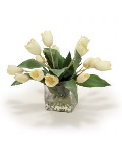 Elegant Cream White Tulip Floral in Vase