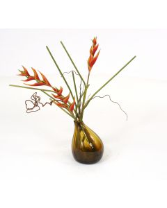 Waterlook® Heliconias in Amber Gourd Vase