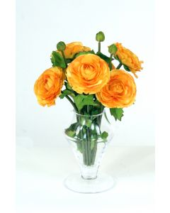Waterlook® Gold Ranunculus in Small Glass Vase (Sold in Multiples of 2)