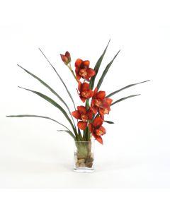 Waterlook® Rust Orchid Blades in Rect. Vase
