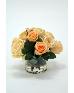 Waterlook® Light Yellow Roses with Green Accents in Short Glass Cylinder