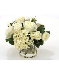 Waterlook® Cream-White Roses and Hydrangeas in Short Vase
