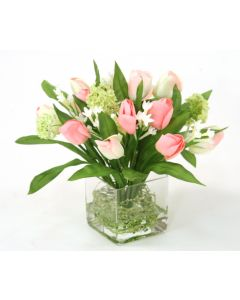 Waterlook&reg Pink Tulip Bundle with Snowballs in Square Glass Vase