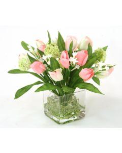 Waterlook&reg Pink Tulip Bundle with Snowballs in Square Glass Vase